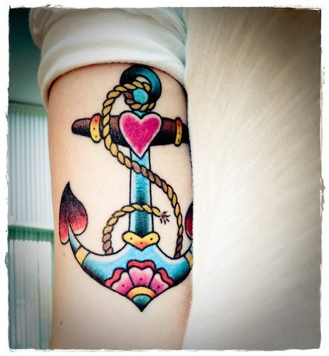 Travel Tattoo Ideas - anchour colour