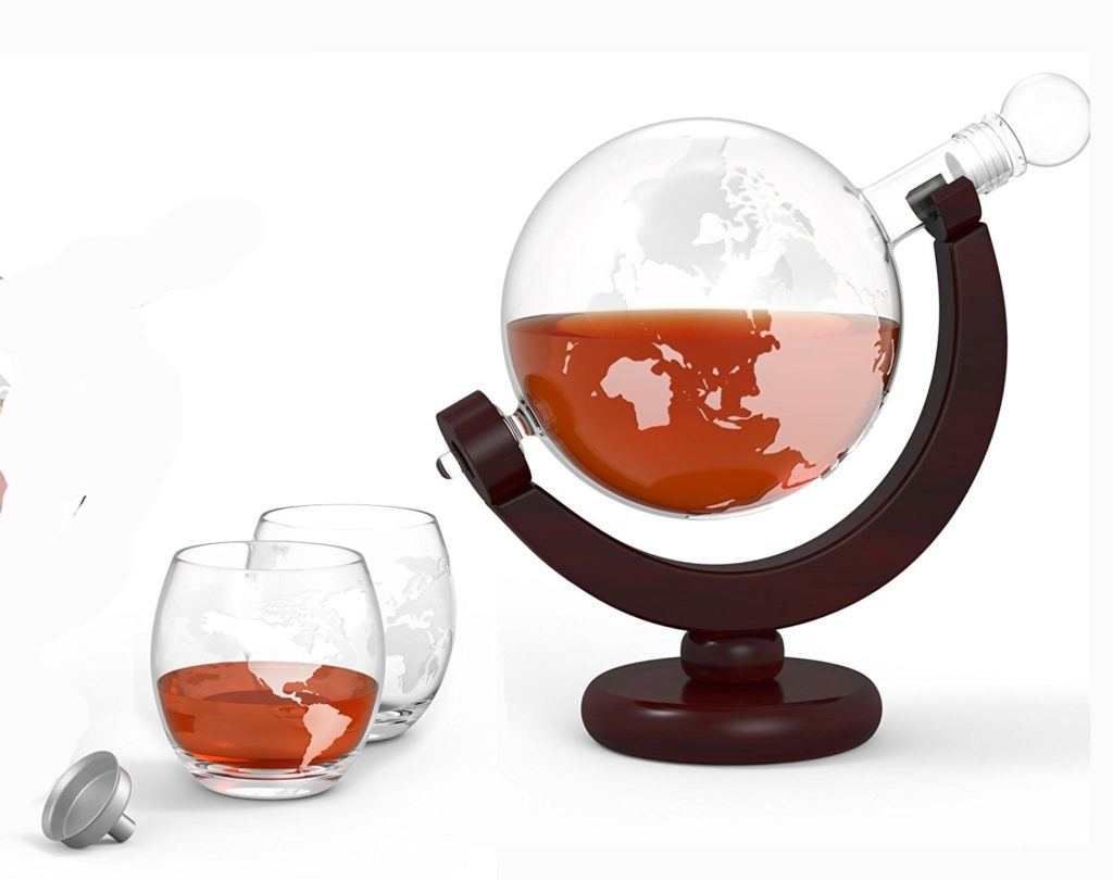 Whiskey Decanter Set World Etched Globe - Foodie Gifts For Him