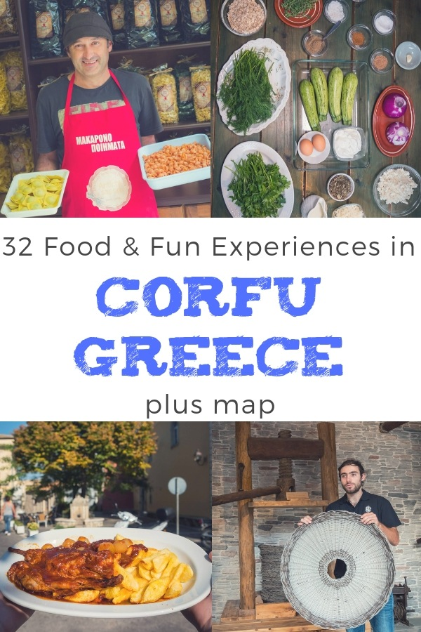 Our Corfu Guide For What To Do In Corfu - Food Experiences, Attractions, Restaurants, scenic drives and more! Inc. Corfu Greece Map with everything listed.