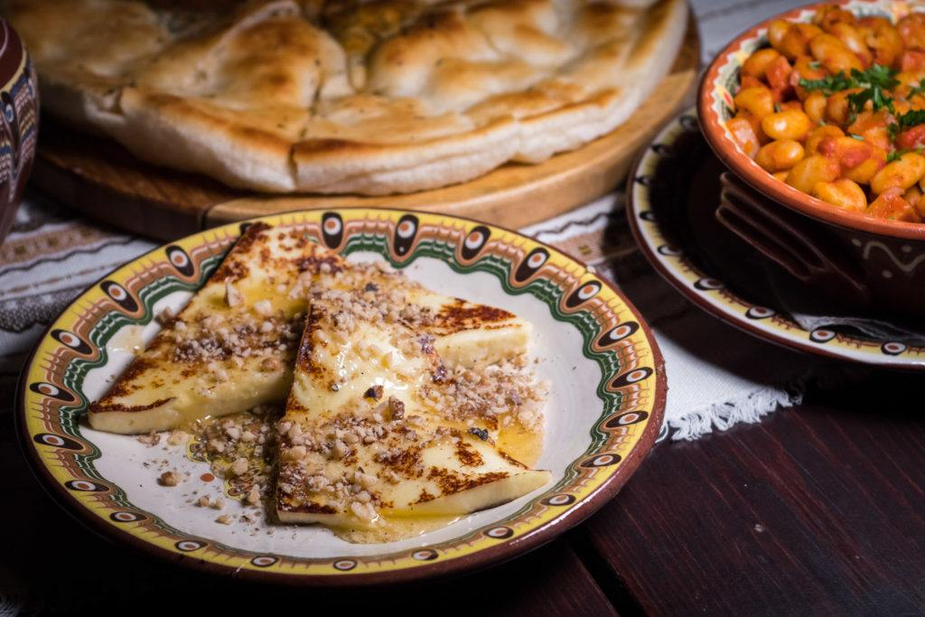 Traditional Bulgarian Food | Bulgarian Cuisine: Grilled Kashkaval Cheese With Honey & Walnuts